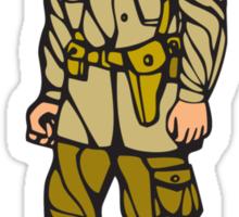 World War Two Soldier Standing Linocut Sticker