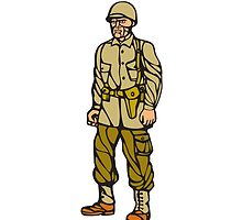 World War Two Soldier Standing Linocut by patrimonio