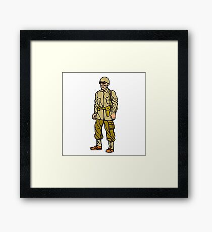 World War Two Soldier Standing Linocut Framed Print