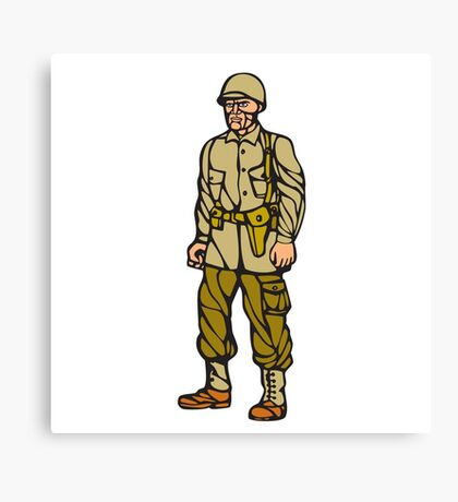 World War Two Soldier Standing Linocut Canvas Print