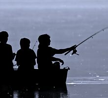 Three boys fishing by Michael Mill