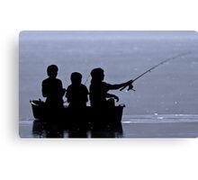 Three boys fishing Canvas Print
