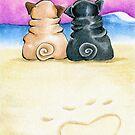 Pugs in Love Beachside by offleashart