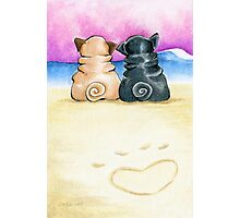Pugs in Love Beachside Photographic Print