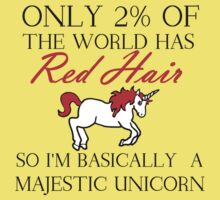 RED HAIR MAJESTIC UNICORN Kids Tee