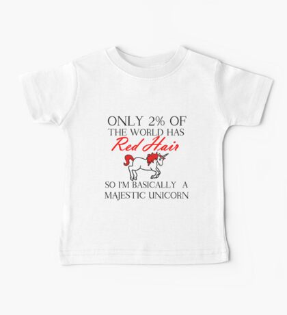 RED HAIR MAJESTIC UNICORN Baby Tee
