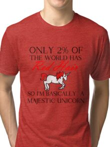 RED HAIR MAJESTIC UNICORN Tri-blend T-Shirt