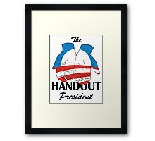 Barack Obama, The Handout President Framed Print