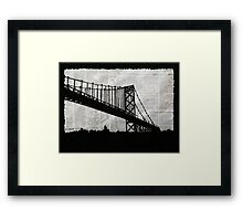 News Feed , Newspaper Bridge Collage, night silhouette cityscape news paper cutout, black and white paper city print illustration  Framed Print