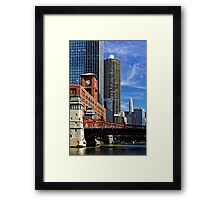 Chicago river cruise view towards  La Salle Street Bridge Framed Print