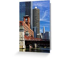 Chicago river cruise view towards  La Salle Street Bridge Greeting Card