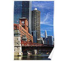 Chicago river cruise view towards  La Salle Street Bridge Poster