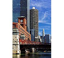 Chicago river cruise view towards  La Salle Street Bridge Photographic Print