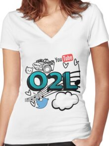 O2L FOREVER GRAPHIC  Women's Fitted V-Neck T-Shirt