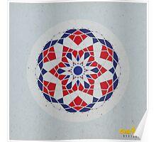 Blue/Red Geometric Mandala Poster