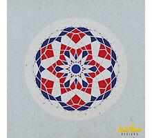 Blue/Red Geometric Mandala Photographic Print