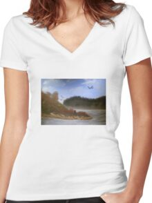Beautiful Landscape Tranquil Countryside Women's Fitted V-Neck T-Shirt
