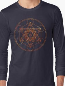 Metatron's Cube [The Red Moon] | Sacred Geometry Long Sleeve T-Shirt