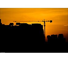 Sunset At The Construction Site Photographic Print