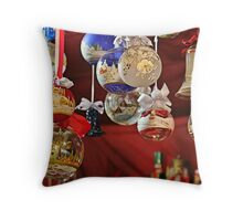Glass Ball Christmas Ornaments Throw Pillow