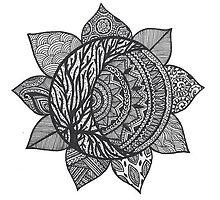 Moon Mandala Zentangle by ameliabedelia