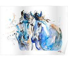 Two Mares//Blue+Brown Poster