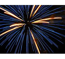 Electric Blue Starburst Fireworks Photographic Print