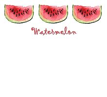 Watermelon Watercolor Times Three by Michelle Meyer
