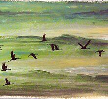 A Flock of Cranes by Arie van der Wijst