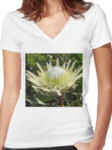 White Protea Women's Fitted V-Neck T-Shirt