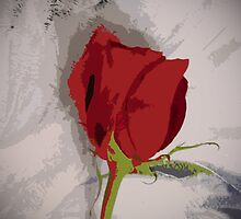 Red Rose Painterly Style Image From Photograph by Adri Turner