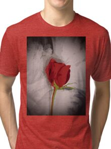 Red Rose Painterly Style Image From Photograph Tri-blend T-Shirt