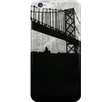 Paper City , Newspaper Bridge Collage, night silhouette cityscape news paper cutout, black and white paper city print illustration  iPhone Case/Skin