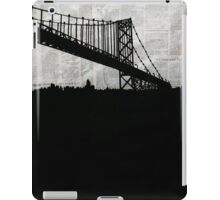 Paper City , Newspaper Bridge Collage, night silhouette cityscape news paper cutout, black and white paper city print illustration  iPad Case/Skin