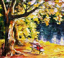 Kisses On The Bench — Buy Now Link - www.etsy.com/listing/219195995 by Leonid  Afremov