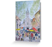 Sunday Market Limogne en Quercy by John Rees Greeting Card