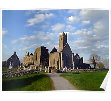 Quin Abbey evening view Poster