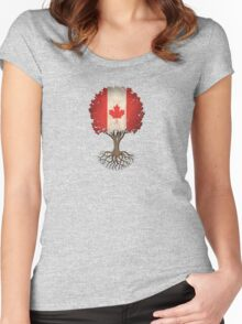 Tree of Life with Canadian Flag Women's Fitted Scoop T-Shirt