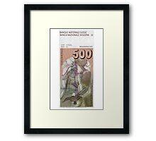 500 Old Swiss Francs Note - Back Framed Print