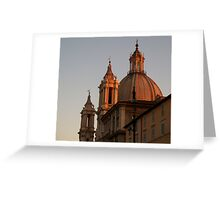 Church Top in Rome - Plaza Navona Greeting Card