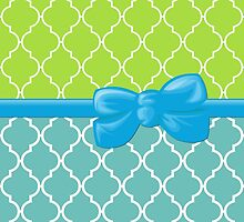 Ribbon, Bow, Moroccan Trellis - Blue White Green by sitnica