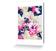 Michel - Abstract, girly, trendy art with pink, navy, blush, mustard for cell phones, dorm decor etc Greeting Card