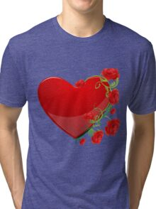 Heart with flowers Tri-blend T-Shirt