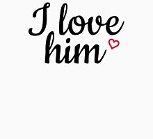 I love him black and red Womens Fitted T-Shirt