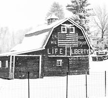 Americana Barn in the Snow Storm B&W by Jim Stiles