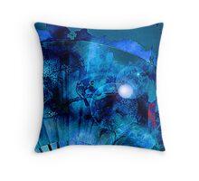 Blue Bird on a Blue Moon  Throw Pillow