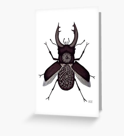 Stag beetle clock surreal black and white pen ink drawing Greeting Card