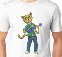 Cat On A Uke - ukulele-playing cat Unisex T-Shirt