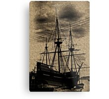 Vintage Toned Mayflower Ship Replica Metal Print