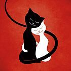 Red White And Black Cats In Love by Boriana Giormova